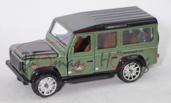 Land Rover Defender 110 CWS (Mod. 90-16) (Nr. 266C), schwarz/grün, majorette, 1:60, Blister mit Box