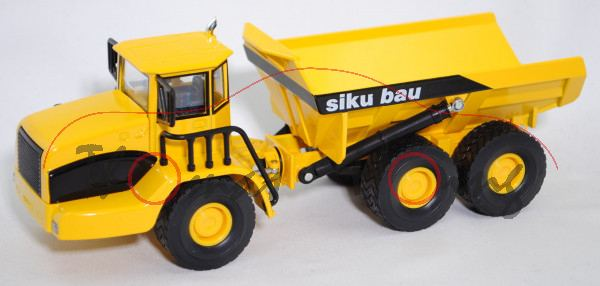 00000 Knickgelenkter Muldenkipper 6x6 (Dumper-Truck), dunkel-verkehrsgelb, siku bau, L17P