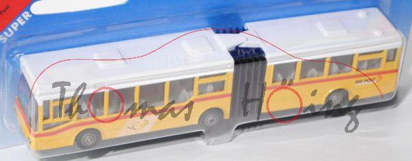 03900 MAN Gelenkbus, reinweiß/signalgelb, Posthorn und DIE POST, P28 (Werbeblister Schweiz), CH