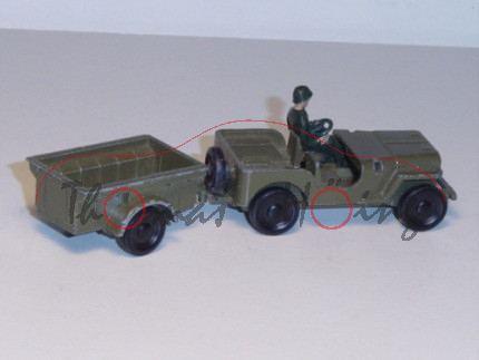 Jeep mit Anhänger, olivgrün, R1, Frontscheibe weg, P3l