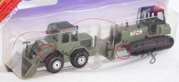 KFOR-Räumfahrzeuge, Frontlader, olivgrün, innen schwarz, Lenkrad schwarz, C8 weiß, Planierraupe: oli