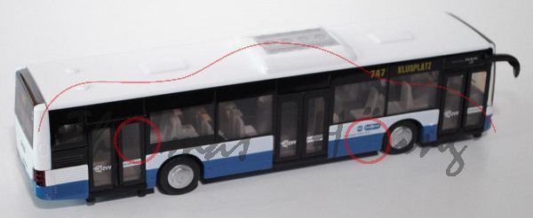 03900 Stadtbus MAN Lion\'s City Solobus mit 3 Türen (Typ A37, Modell NL 243), reinweiß/azurblau, VBZ