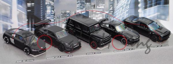 BLACK EDTION Giftpack, Audi + Nissan + BRABUS + Mercedes-AMG + Dodge, majorette, mb