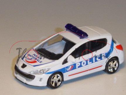 Peugeot 308, reinweiß, POLICE / POLICE / NATIONALE, 1:50, Norev, mb
