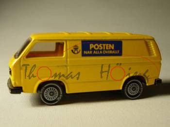 VW Transporter 2,0 Liter (Typ T3), Modell 1979-1982, gelb, POSTEN NAR ALLA ÖVERALLT, R11, S