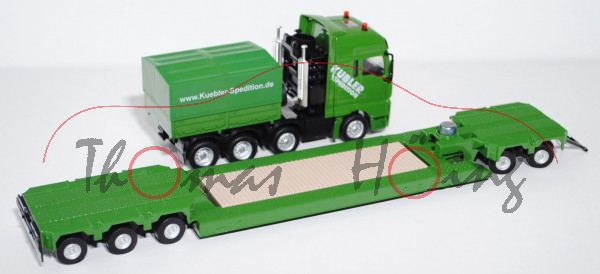 00001 MAN TGA Schwertransporter mit Tiefladeanhänger, smaragdgrün, KÜBLER / SPEDITION / www.Kuebler-