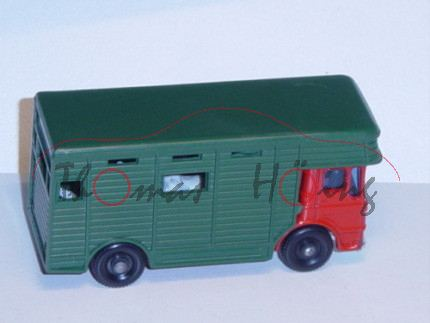 Horse Box, feuerrot/kieferngrün, seitliche Rampe klappbar, mit 2 Pferden, Matchbox Series
