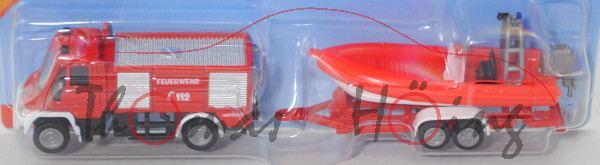 00000c MB Unimog U 400 (U 405) Feuerwehr TLF+Anhänger+Boot, rot/weiß, C44b grau / C46 grau, P29e