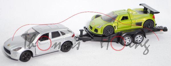 00005 Porsche Macan Turbo m. Autotransporter+Gumpert Apollo (Mod. 05-10), weißalu+grün, B47 schwarz