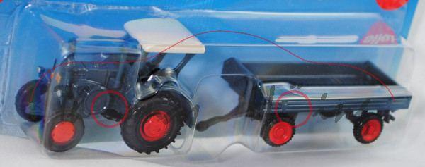 00001 Lanz Verkehrsbulldog HR8 - D9511 (Mod. 36-39) mit klassischem Anhänger (Grümer), hell-graublau