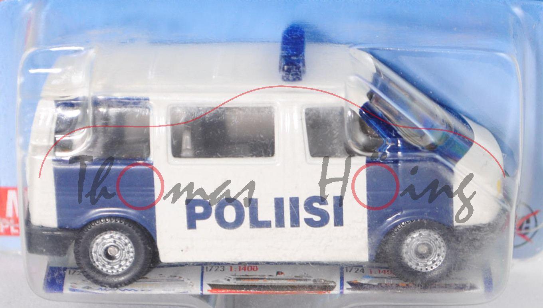 1990-1995 1:62 Siku Super 1350 VW T4 Caravelle Polizei Mannschaftswagen ca