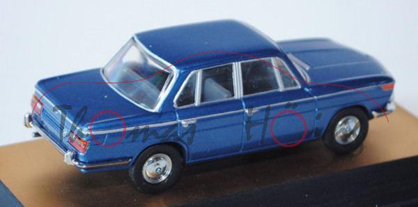 BMW 2000, Modell 1966-1972, riviera (dunkel-verkehrsblaumetallic), Schuco, 1:43, PC-Box