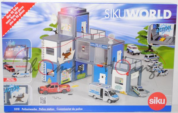 00000 SIKU WORLD Polizeistation, Mercedes-Benz Sprinter m. Kofferaufbau + RAM 1500, L18