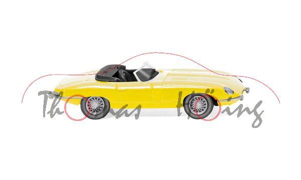 Jaguar E-Type Serie 1 Roadster 3.8-Liter (Serie 1, Modell 1961-1964), gelb, Wiking, 1:87, mb
