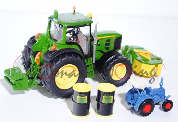 John Deere 7430 Powr-Set, smaragdgrün, Kupplungen grün, mit Lanz Bulldog (vgl. 0861 in brillantgrau)