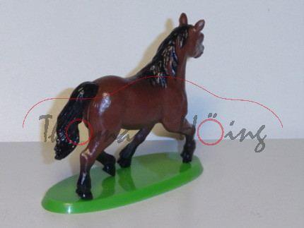 Pferd, braun/schwarz, mit grünem Sockel, TIM, 1:32