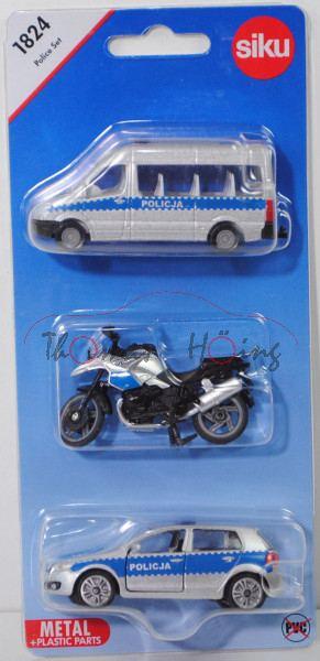 06000 PL Police Set, mit: Mercedes-Benz Sprinter II+BMW R1200 GS+VW Golf VI, POLICJA, P29e (Limited)
