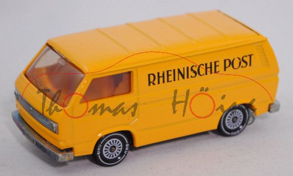 VW Transporter 2,0 Liter (Typ 2-Modell '80 T3, Modell 79-82), signalgelb, RHEINISCHE POST, Druck m-