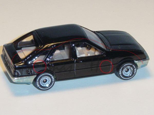 00001 Ford Sierra 2.3 Ghia (Typ Sierra \'82, Modell 1982-1984), schwarz, innen hell-beige, Lenkrad s