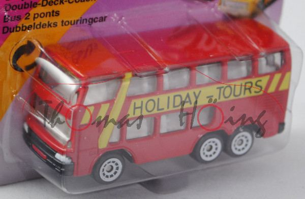 Doppeldecker-Bus, verkehrsrot, innen reinweiß, Lenkrad integriert, HOLIDAY-TOURS, C2 weiß, P23