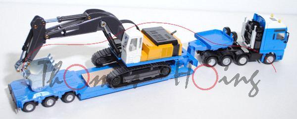 00001 MAN TGA Schwertransport mit Liebherr 974 Litronic Raupenhydraulikbagger, dunkel-himmelblau/rei