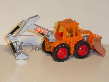 Muir-Hill 161 Tractor Digger & Plow, hellrotorange/silber, Aufkleber MH6 auf der Greifarm, Matchbox