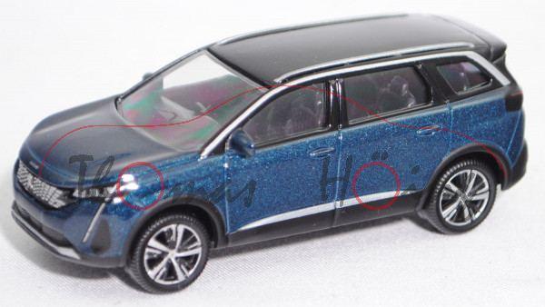 Peugeot 5008 II GT (Facelift 2020, Mod. 2020-), metallic celebes blau, Dach schwarz, Norev, 1:65, mb