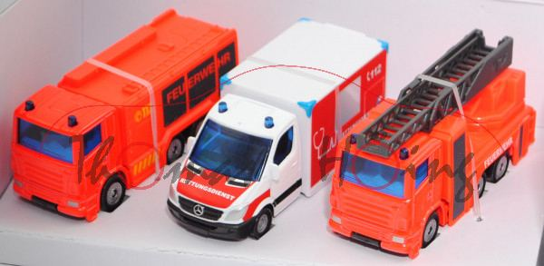 00000 Notruf Set: Scania Tanklöschfahrzeug + MIESEN Rettungswagen + Scania Drehleiter, L17mpP