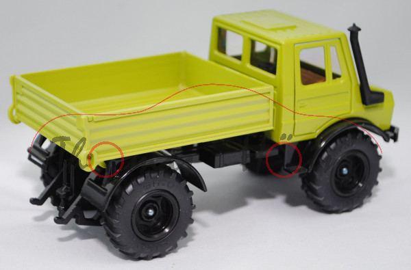 00405 Unimog U 1500 (Baureihe 425.141, Modell 1975-1988), claasgrün/schwarz, Felgen schwarz, Nummern
