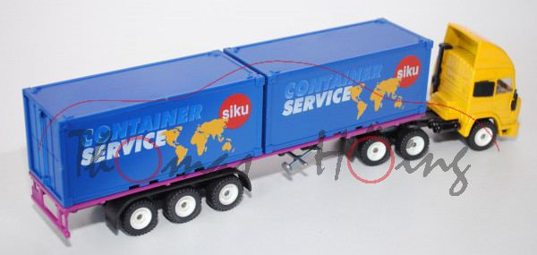 Iveco TurboStar Container-LKW, signalgelb/schwarz/verkehrspurpur, CONTAINER/ SERVICE / siku-Logo, al