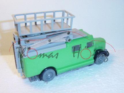 Mercedes Scheren-Turmwagen mit Schörling-Aufbau, blaß-verkehrsgrün, Arbeitsscheinwerfer weg
