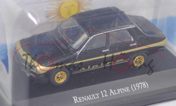 Renault 12 Alpine (Mod. 78-80) vgl. Renault 12 (Mod. 75-80), schwarz, EDITION ATLAS, 1:43, Haubenbox