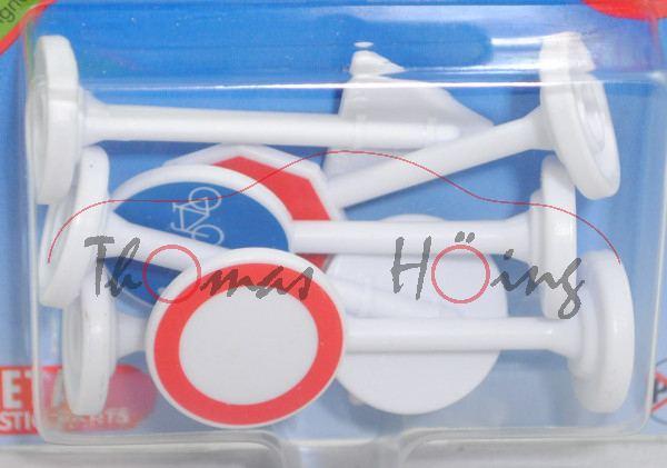 00001 6 Stück Verkehrszeichen, Zeichen 134 + 206 + 224 + 241 + 250 + 301, m. weißem Plastikfuß, P29e
