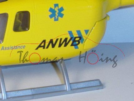 Polizei-Hubschrauber BO 105, gelb, Medical Air Assistance ANWB / PH-NZX / ANWB, B auf blaue Streifen