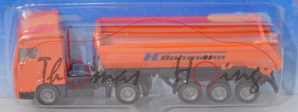 00401 MAN TG460A XXL (Mod. 2000-2007) mit Halfpipe-Muldenkipper, orange/schwarz, H. Bohmann, P28b
