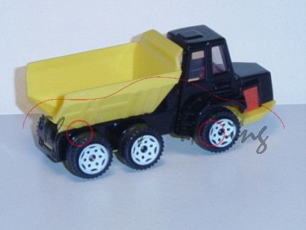 00002 Volvo BM A25 6x6 Knickgelenkkipper (Modell 1987-1991), schwarz/zinkgelb, innen verkehrsrot, Le
