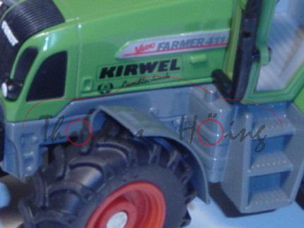 Fendt Favorit 411 Vario, resedagrün, Druck KIRWEL / Landtechnik auf den Seiten der Motorhaube und hi
