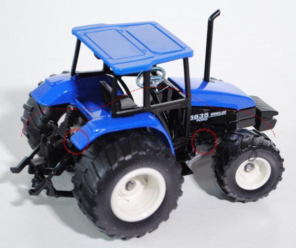 99900 Traktor New Holland 5635 / Ford, ultramarinblau/schwarz, mit Terrareifen, L15