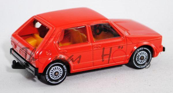 00002 VW Golf I LS (Typ 17, Facelift 1, Modell 1978-1980), verkehrsrot, innen safrangelb, Lenkrad sc