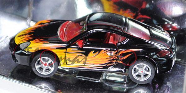 Porsche Cayman S (Typ 987c), Modell 2005-2009, schwarz, innen rot, Felgen silber, roter Druck auf Fe