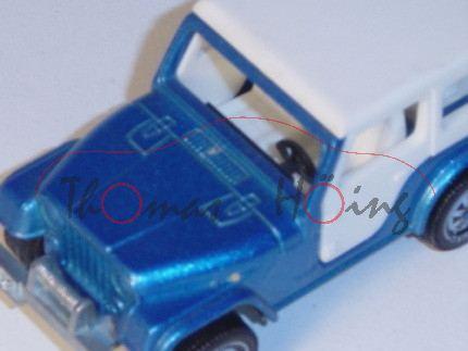 00002 Jeep CJ-7 mit Caravan, blaumetallic/reinweiß, mit roten Streifen am Wohnwagen, B5/B4, 2 kleine
