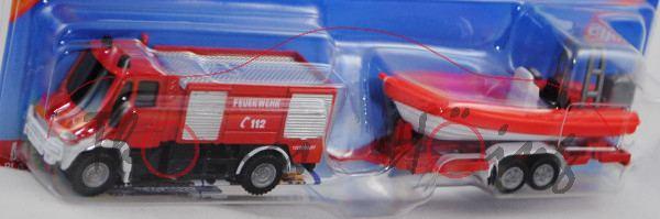 00000c Mercedes-Benz Unimog U 400 (U 405, Mod. 01-14) Feuerwehr TLF mit Anhänger + Mehrzweckboot LEH
