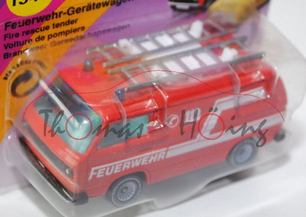 VW Transporter 2,0 Liter (Typ T3) Feuerwehr-Gerätewagen, Modell 1979-1982, dunkel-verkehrsrot, innen