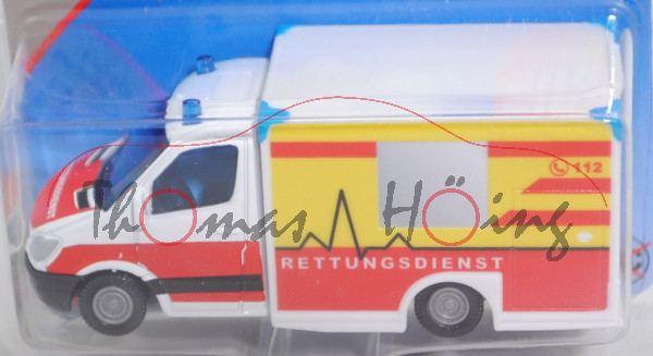 00000 MIESEN Rettungswagen mit Kofferaufbau auf MB Sprinter II (Mod. 06-09), weiß/rot, SIKU, P29e