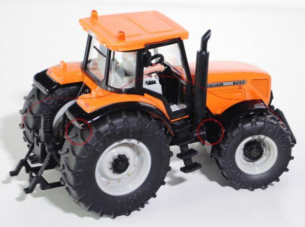 00401 Massey Ferguson MF 8250 Xtra Traktor (Modell 2002-2004), hellrotorange/schwarz, innen lichtgra