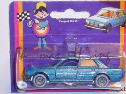 Peugeot 505 STi, Modell 1979-1986, dunkel-himmelblaumetallic, Verglasung rauch, B4 = 5,0 mm breit, P