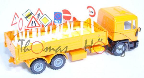 00000 MAN F90 LKW mit Verkehrszeichen, melonengelb, LKW12, Heckleuchten weg