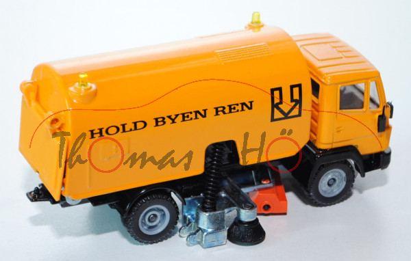 00800 Mercedes LN-2 Straßenkehrmaschine, melonengelb/schwarz, innen grau, HOLD BYEN REN, LKW12, L14a