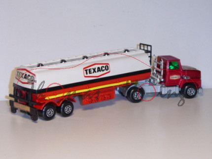 Ford LT 5 Articulated Tanker, dunkelrotmetallic/silbergraumetallic/cremeweiß/verkehrsrot, TEXACO, Ma