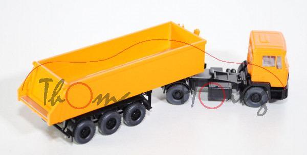 MAN F 90 neuer Hinterkipper-Sattelzug, orangegelb, Wiking, 1:87, mb